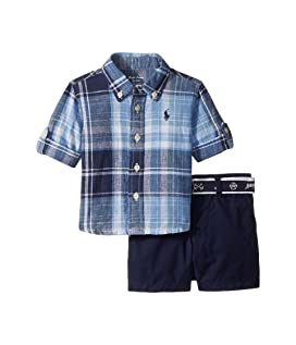 Linen Plaid Shirt & Shorts Set (Infant)