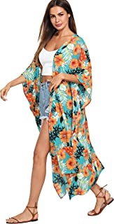 SweatyRocks Women's Flowy Kimono Cardigan Open Front Maxi Dress