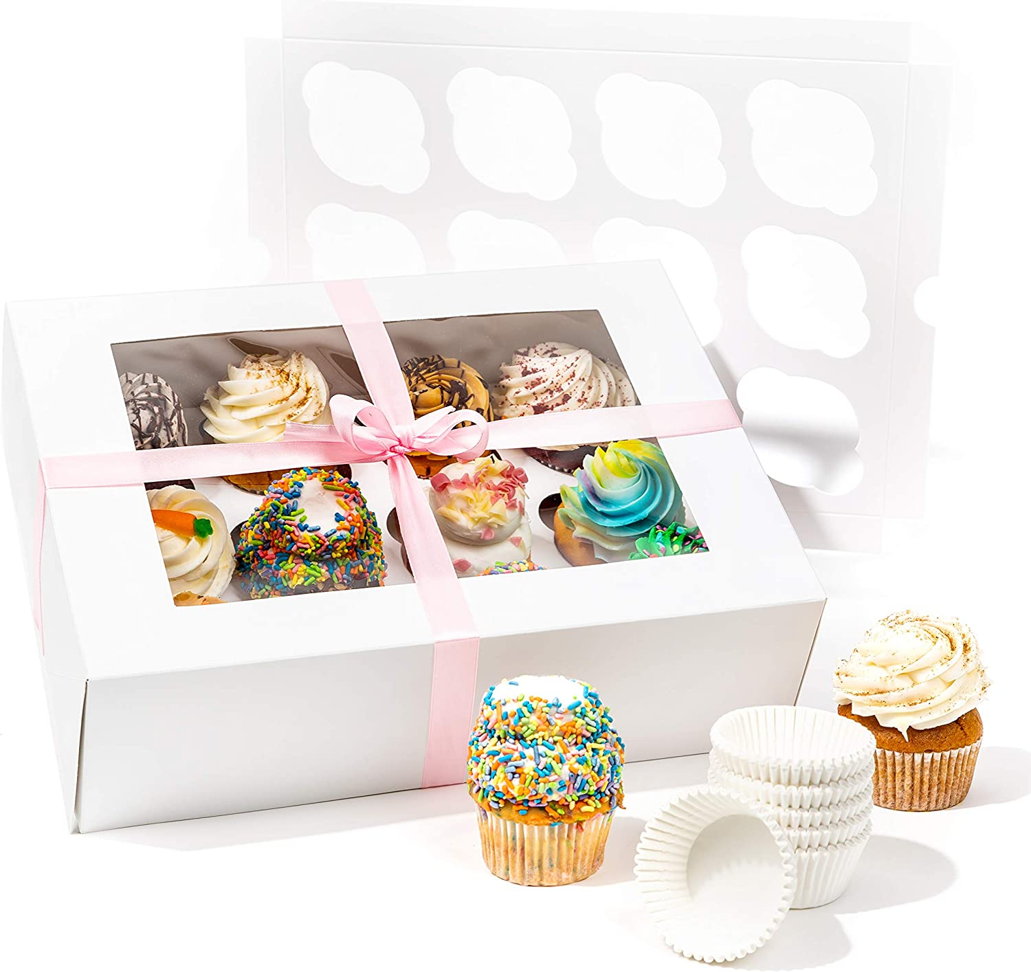 SMIRLY White Cupcake Boxes 12 Count: Disposable Cupcake Containers 12 Count, Cupcake Holder with Lid, Cupcake Carrier, Bakery Boxes with Window, Pastry Boxes Cookie Boxes with Window Large Treat Boxes