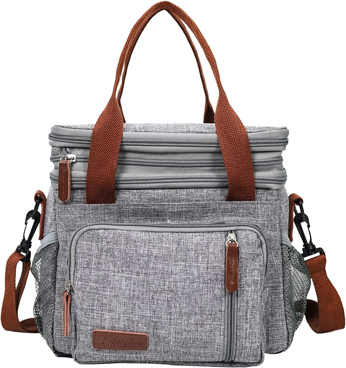 H&Wanss Insulated Lunch Bag for Women Cooler Lunch Box Men Leakproof Tote with Handle Shoulder Strap for Work Picnic (Gray)