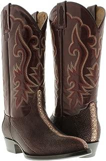 Men's Burgundy Genuine Stingray Row Stone Leather Cowboy Boots J Toe