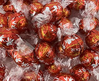 LaetaFood Lindt LINDOR Milk Chocolate Truffles Candy Bulk Pack, Red Wrap (3 Pound Bag)