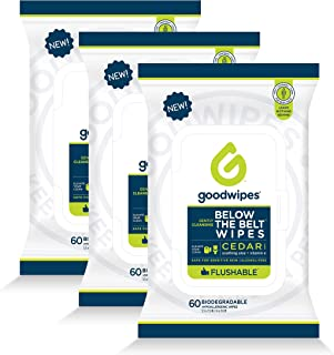 Goodwipes Below The Belt Flushable Wet Wipes for Men, Cedar Scent, 60 Wipe Pack, 3 Count (180 Wipes)