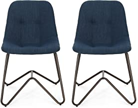Adela Fabric Dining Chair, Navy Blue and Bronze