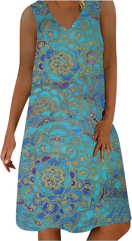 RKSTN Womens Dresses Sleeveless Shift Dress Loose Fit Trendy Printing Beach Dress V-Neck Midi Dress Sundress