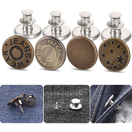 JASSINS Jean Button Pins,16pcs Perfect Fit Instant Button,Replacement Button Pins for Jeans No Sew and No Tools Adjustable Pants Button to Extend or Reduce Pants Waist Bronzes 17mm