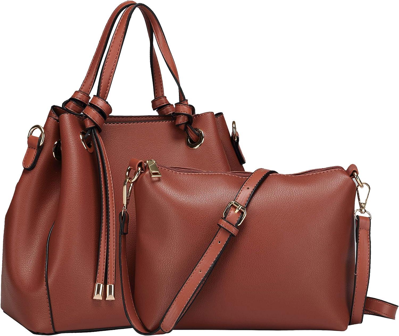 Women's Hobo 2-in-1 Handbag PU Leather Handbag Crossover Shoulder Bag for Ladies Medium Pocket Adjustable Handbag