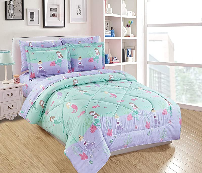 Mk Home 7pc Queen Size Comforter Set For Girls Mermaids Fishes Aqua Lavender Pink New