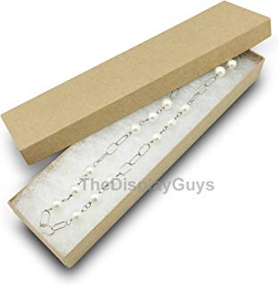 The Display Guys Pack of 25 Cotton Filled Cardboard Paper Kraft Jewelry Box Gift Case - Kraft (8x2x1 inches #82)