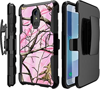 MINITURTLE Compatible with LG Stylo 4 / LG Q Stylus (2018 Release) [Clip Armor Case Series] Case with Built in Stand & Bonus Holster Clip Combo - Pink Tree Camo