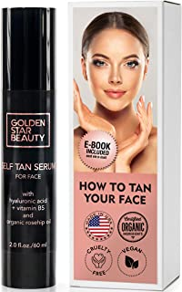 Self Tanner – Facial Sunless Tanner w/Hyaluronic Acid and Organic Oils - Non Comedogenic Face Tanning serum w/Booklet For Natural Sunkissed Glow - 2.0 fl