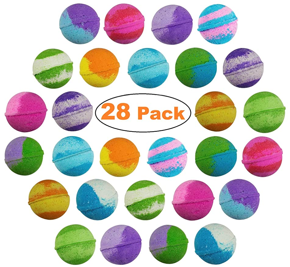 28 pack USA Vegan Bath Bombs kit – Handmade with Organic Essential Oils Lush Spa Bath Fizzies for Moisturizing Dry Skin - Paraben & Gluten Free - Best Gift Ideas for Weddings & Showers