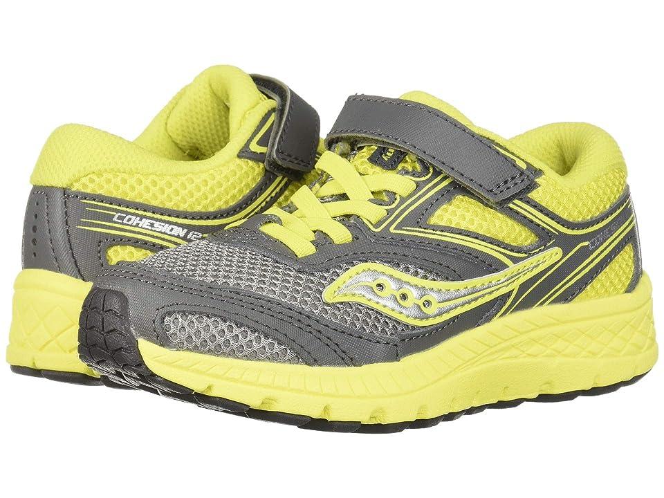 Saucony Kids Cohesion 12 A/C (Little Kid) (Grey/Citron) Boys Shoes