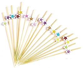 "PuTwo Cocktail Picks Handmade Bamboo Toothpicks 100pcs 4.7"" in Multicolor Flower"