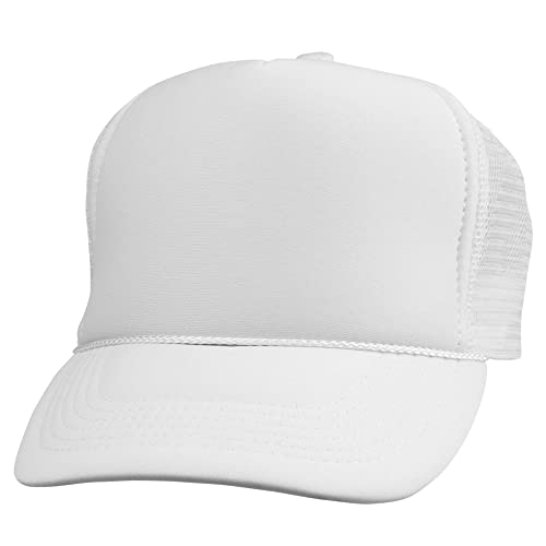 419f876d Trucker Cap Mesh Hat with Solid Colors and Adjustable Strap and Small Braid