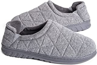 Snug Leaves Men's Quilted Fleece Memory Foam Slippers with Adjustable Elastic Gores
