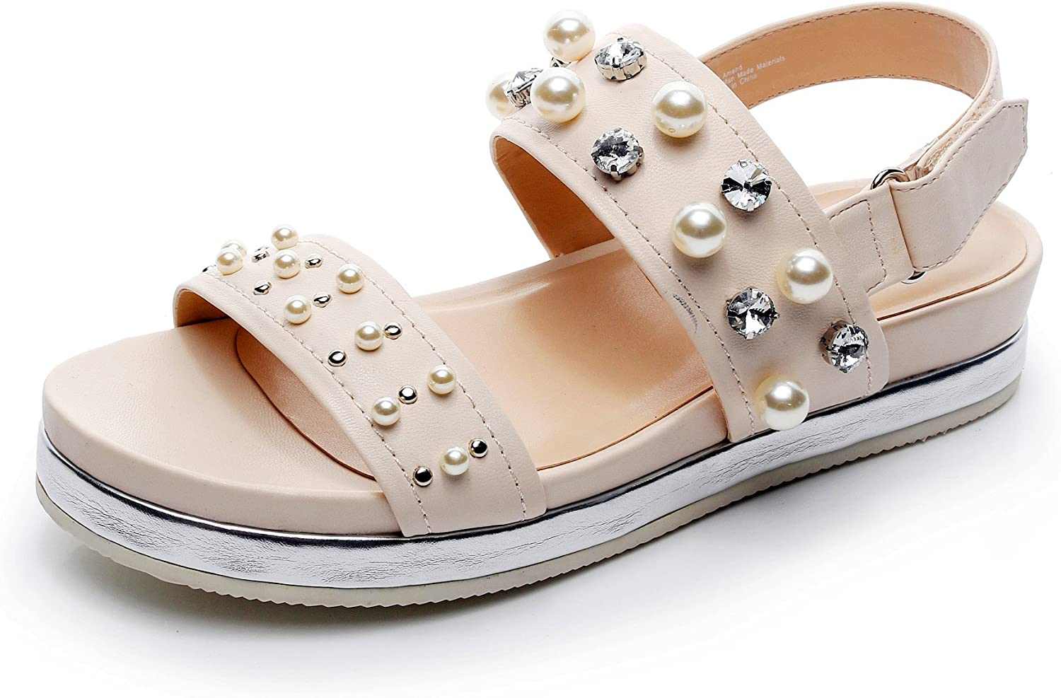 DUNION Women's Amend Glamour Pearl Decor Vamp Platform Sandal Rhinestone Fashion shoes