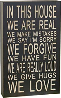 In This House We Do Love Inspirational Wood Hanging Sign Wall Art Black
