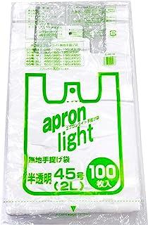 オルディ レジ袋 半透明 2L 縦53×横30×マチ15cm 厚さ0.016mm 取っ手付きポリ袋 エプロンライト EL-N45-100 100枚入