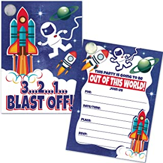 Astronaut Rocket Ship Kids Birthday Party Invitations (20 Count with Envelopes) - Outer Space Boy Birthday Invites - Space Shuttle Astronomy Party