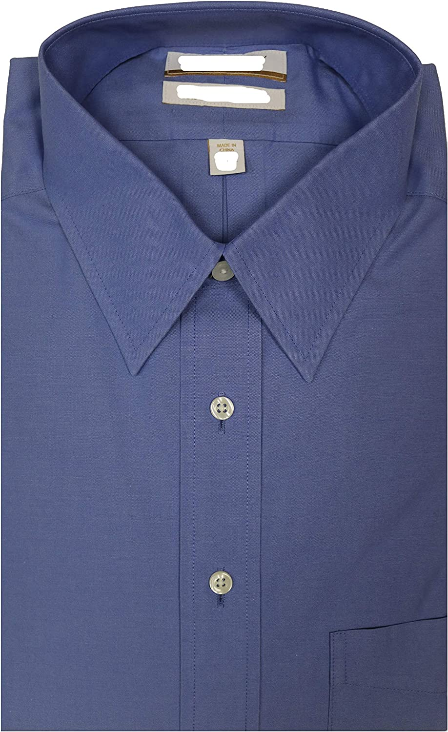 Gold Label Roundtree & Yorke Non-Iron Regular Big Tall Point Collar Solid Dress Shirt Y35DG008 Baltic Blue