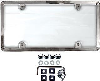 Custom Accessories 90085klar Cover Nummernschild Rahmen mit Chrom ABS Rahmen Diebstahlschutz gurthalteband