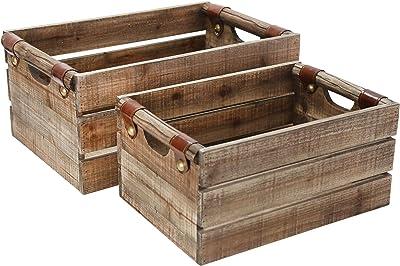 Sagebrook Home 14094-02 Wood Boxes, Brown (Set of 2)
