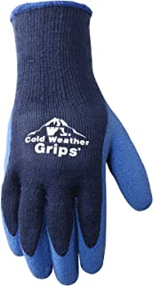 Men's Cold Weather Work Gloves, Heavyweight Knit Shell, Latex Coating, Navy Blue, Large (Wells Lamont 571L)