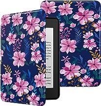 MoKo Funda Compatible con Kindle Paperwhite (10th Generation, 2018 Releases), Ultra Delgada Ligera Smart-Shell Soporte Cover Case Encaja Kindle Paperwhite 2018 - Azul & Rosa Flora
