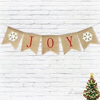 Burlap Joy Banner Christmas Garland Decorations Holiday Bunting Banner Holiday Mantle Fireplace Decor