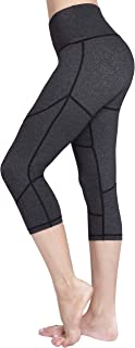 RAYPOSE High Waist Tummy Control Capri Yoga Pants w Pocket for Women Workout Running Capris Leggings Non See Through for Fitness Grey-XS