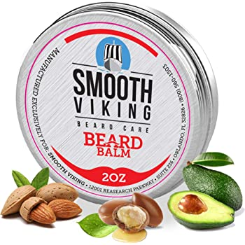 Smooth Viking Beard Balm For Men - Natural Leave-In Beard Softener Conditioner With Essential Oil & Bees Wax - Strong Hold Styling Care Beard Balm To Boost Healthy Beard And Mustache Growth - 2 Oz