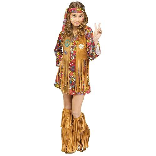 Cool Hippie Girls Fancy Dress 1970s 60s Peace Groovy Childrens Kids Costume New
