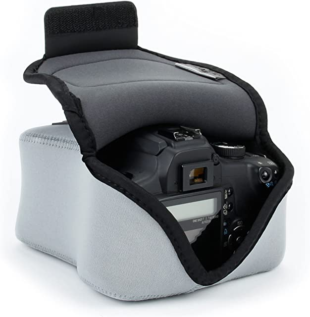 USA Gear Funda para Cámara DSLR con Protección de Neopreno Presilla para Cinturón y Almacenamiento de Accesorios - Compatible con Nikon D3400 Canon EOS Rebel SL2 Pentax K-70 y más - Gris