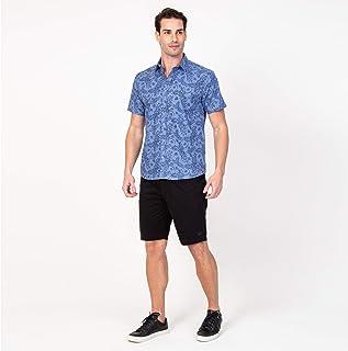 Camisa manga curta masculina azul flores
