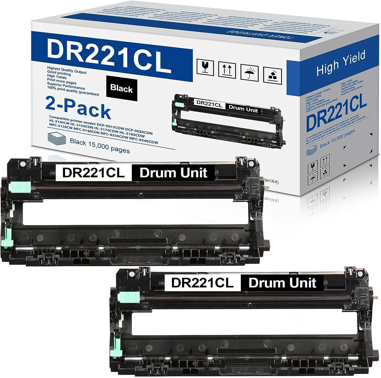 2-Black DR221 DR-221CL BK Drum Unit Replacement for Brother DR221CL DR-221CL HL-3170CDW MFC-9330CDW HL-3140CW MFC-9130CW Printer
