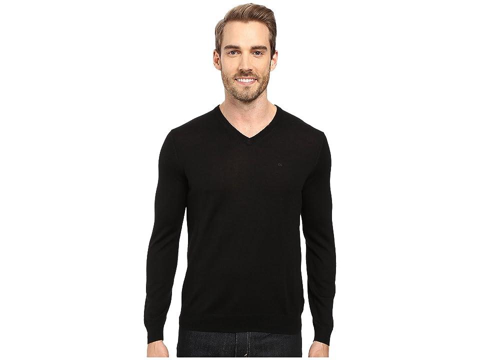 Calvin Klein Solid Merino V-Neck Sweater (Black) Men
