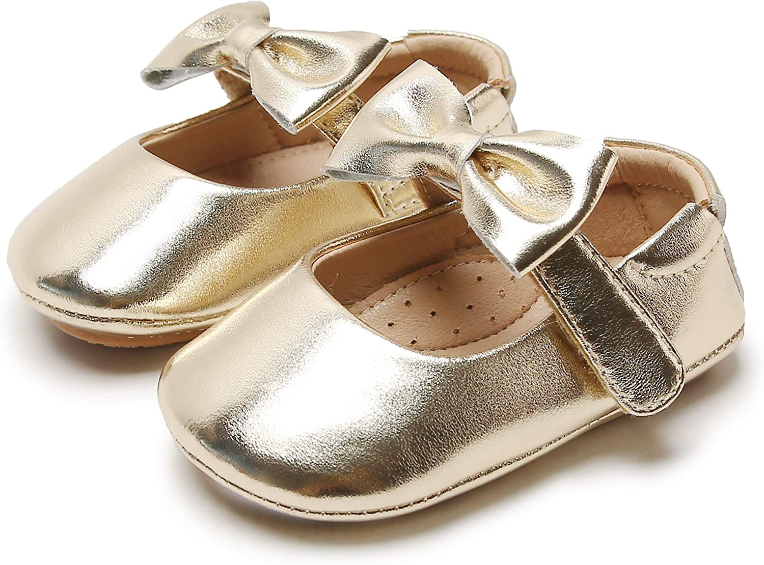 GINFIVE Baby Girls Prewalker Shoes Mary Jane Flats First Walkers Princess Dress Shoes (Infant/Toddler)