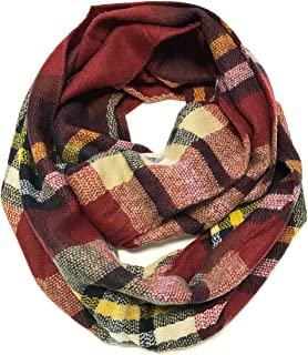 ALLYDREW Fashionable Plaid Infinity Circle Scarf Long Plaid Winter Scarf