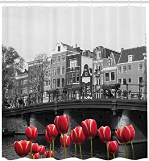 Printing Black and White Decorations Shower Curtain, Monochrome Photo of Amsterdam Canal with Red Tulips Houses, Polyester Shower Curtain for Bathtub Showers, 72 x 84 Inches Black White
