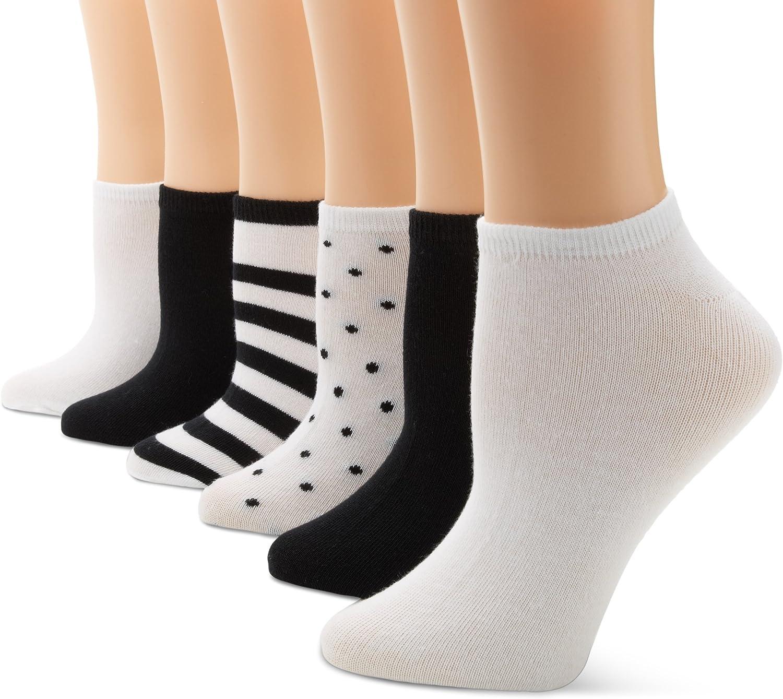 K. Bell Socks Women's 6-Pack Dots Assorted No Show Socks