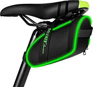 Golener Bike Saddle Bag, Bike Bag Under Seat with Led Light Strips, Waterproof Durable Bike Seat...