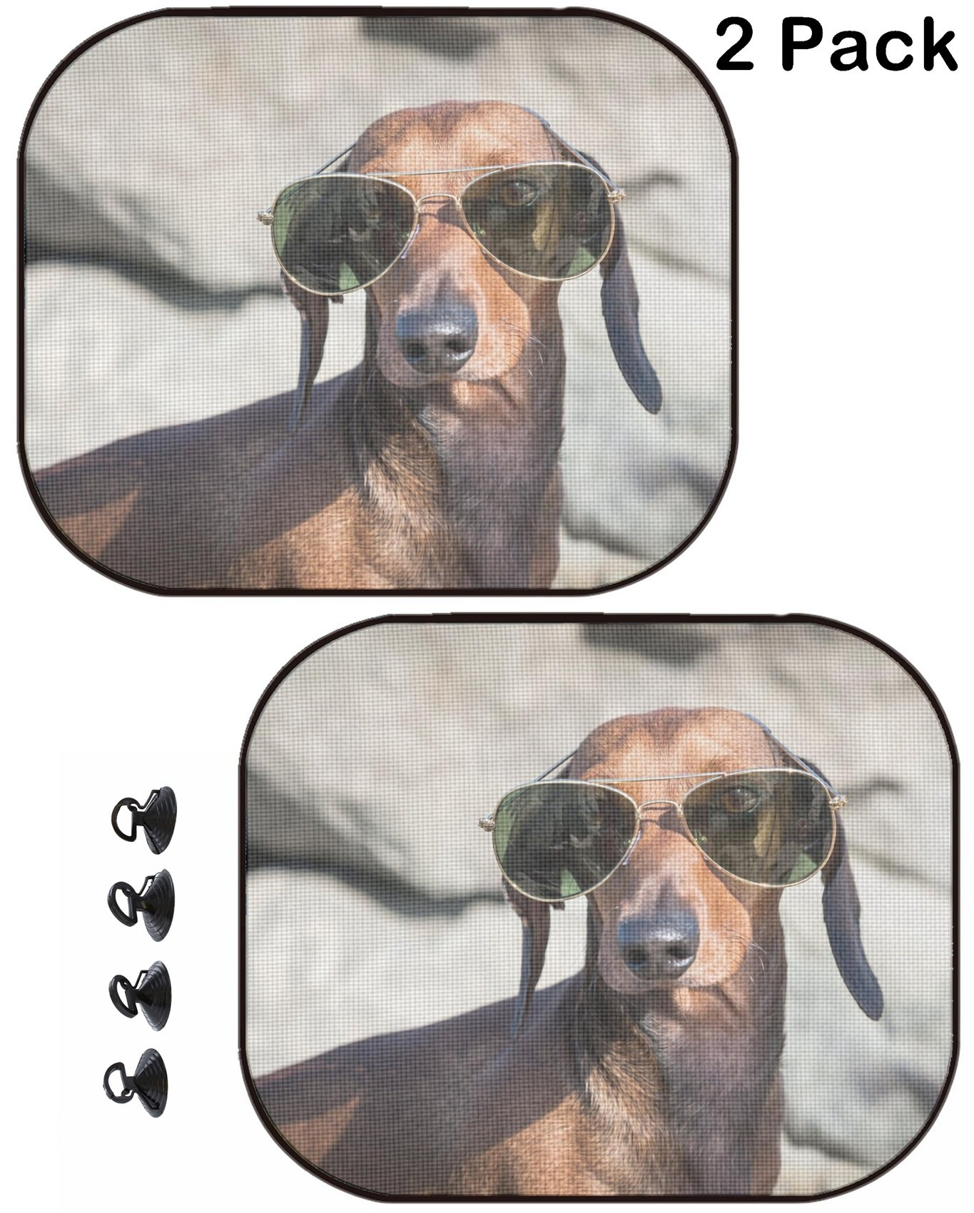 MSD Car Sun Shade Protector Side Window Block Damaging UV Rays Sunlight Heat for All Vehicles 2 Pack Image ID 35379153 Dachshund Dog with Sunglasses at sea Put in a Bag