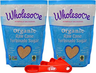 Wholesome Organic Turbinado Raw Cane Sugar 1.5 Pound (Pack of 2) with By The Cup Measuring Spoons