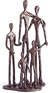Danya B. Home Shelf Décor (ZD11021) - Sand Casted Metal Art Bronze Sculpture Family of Five - Lined with Velveteen