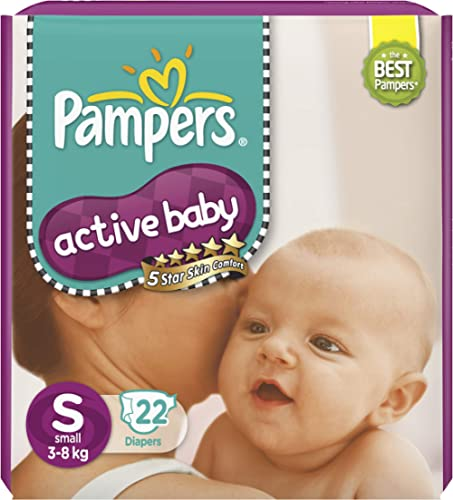 Pampers Active Baby Taped Diapers, Small size diapers, (SM) 22 count, Taped style custom fit