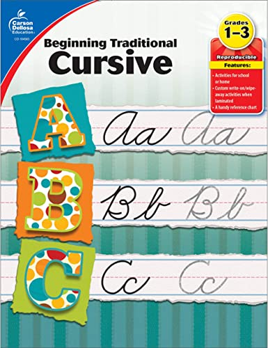 Carson Dellosa Beginning Traditional Cursive Workbook—Grades 1-3 Handwriting Practice, Uppercase and Lowercase Letter...