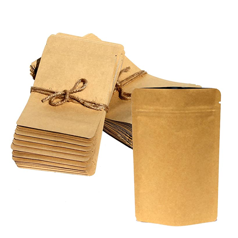 AwePackage Heavy Duty Kraft Paper Self Standing Resealable Zipper Pouch Bags (1 oz- 16 oz) - FDA and USDA compliant (100, 3 Oz)