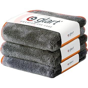 Glart Premium Flausch 3er Set aus ultraweichen Microfasern, anthrazit mit oranger Kante, 40 x 40 cm, 443TPO
