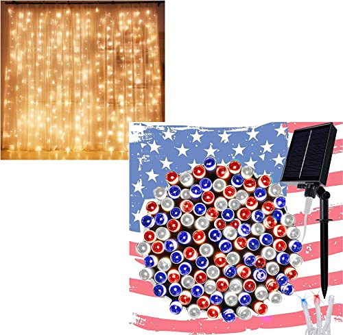 high quality Twinkle Star 300 LED Curtain Lights   300 LED July 4th wholesale online Patriotic Solar String Lights sale